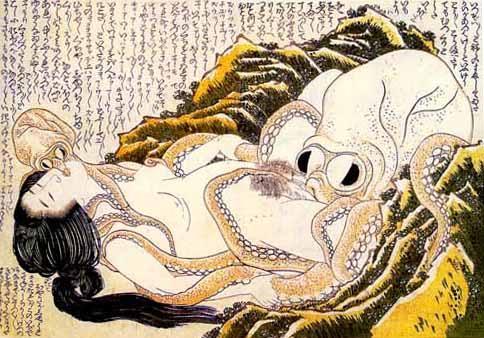 """""""Sogno della moglie del pescatore"""" di Hokusai"""