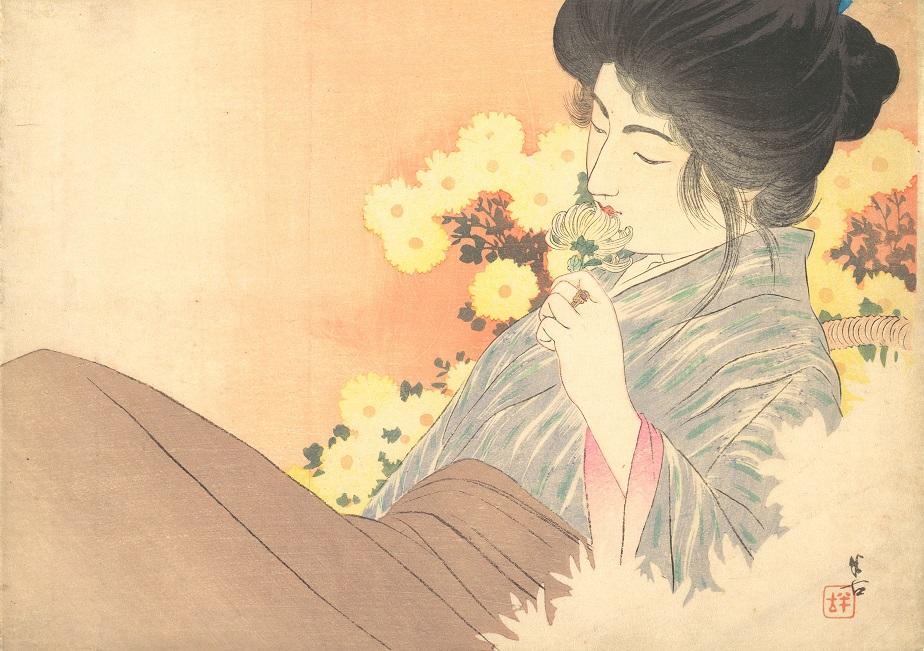 Kajita Hanko White Chrysanthemums crisantemo haiku