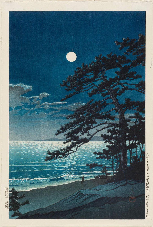 Kawase Hasui Spring Moon at Ninomiya Beach