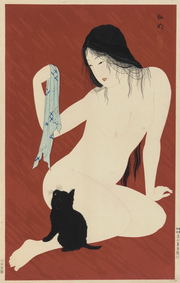 Nude with black cat by Takahashi Shotei